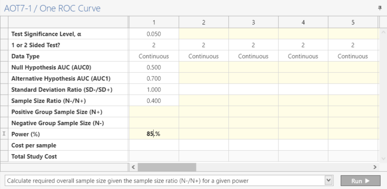Sample Size Calculator Example- nQuery- Example 02- Img 02- One ROC Curve
