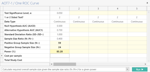 Sample Size Calculator Example- nQuery- Example 02- Img 03- One ROC Curve