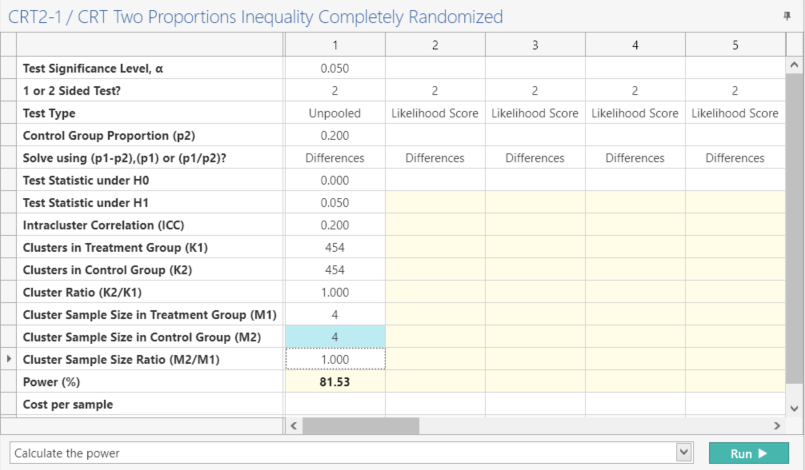 Sample Size Calculator Example- nQuery- Example 05- Img 03- CRT Proportions