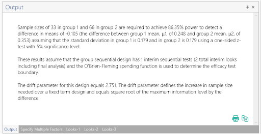 Sample Size Calculator Example- nQuery- Example 06- Img 04- Group Sequential Test of Two Means