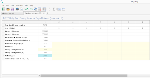 Sample Size Calculator Example- nQuery- Example 07- Img 03- Two Sample Student's t-test  (equal variances)  Unequal n's