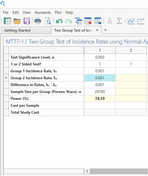 Sample Size Calculator Example- nQuery- Example 08- Img 03- Two Incidence Rates using Normal Approximation