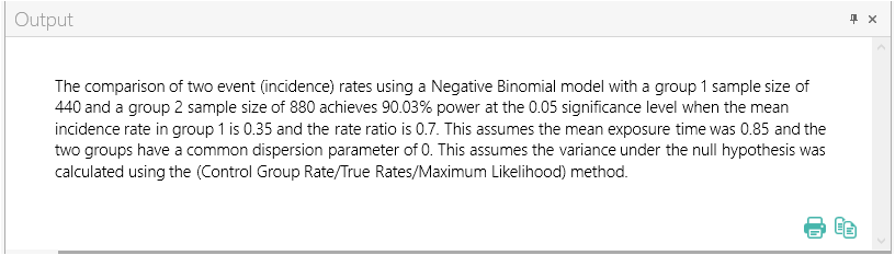 Sample Size Calculator Example- nQuery- Example 10- Img 04- Two Group Test Comparing Incidence Rates using the Negative Binomial Model