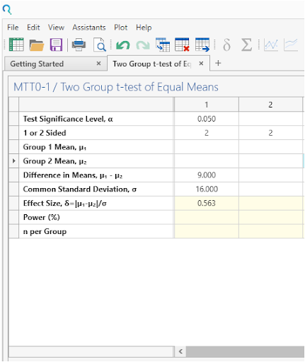 Sample Size Calculator Example- nQuery- Example 11- Img 02- Two Sample Student's t-test (equal variances)