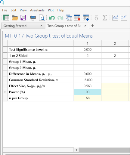 Sample Size Calculator Example- nQuery- Example 11- Img 03- Two Sample Student's t-test (equal variances)