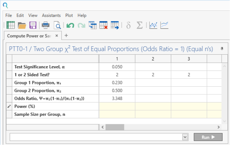 Sample Size Calculator Example- nQuery- Example 17- Img 02- Compute Power or Sample Size for Two-Sample Chi-Squared Test