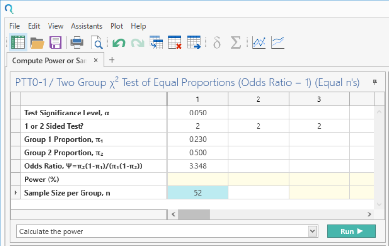 Sample Size Calculator Example- nQuery- Example 17- Img 03- Compute Power or Sample Size for Two-Sample Chi-Squared Test