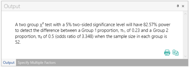 Sample Size Calculator Example- nQuery- Example 17- Img 05- Compute Power or Sample Size for Two-Sample Chi-Squared Test