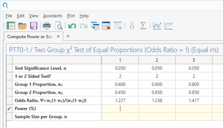Sample Size Calculator Example- nQuery- Example 18- img 02- Compute Power or Sample Size for Two-Sample Chi-Squared Test