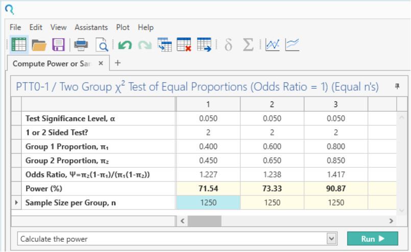 Sample Size Calculator Example- nQuery- Example 18- img 03- Compute Power or Sample Size for Two-Sample Chi-Squared Test