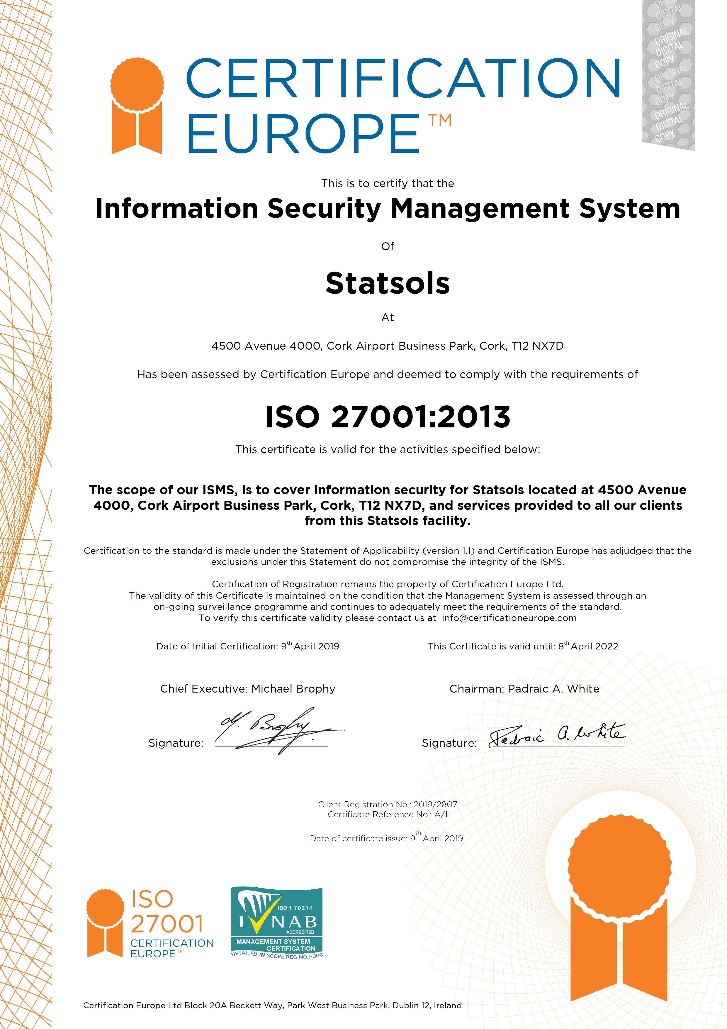 Statsols ISO27001 CertA1 ED2022